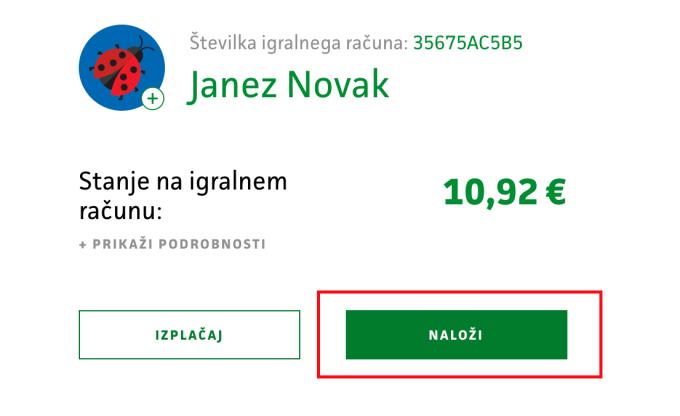 Prikaz izbire naloži sredstva v profilu igralca.