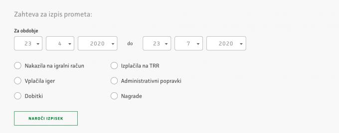 Prikaz zahteve za izpis prometa