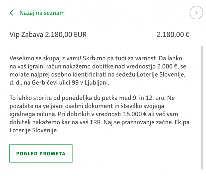 prikaz obvestila o dobitku nad 2.000 €