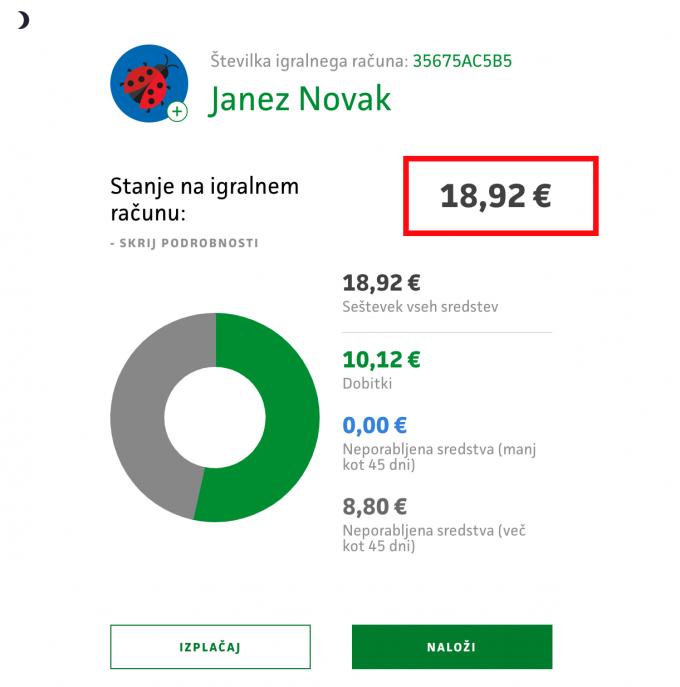 prikaz stanja na igralnem računu v profilu igralca
